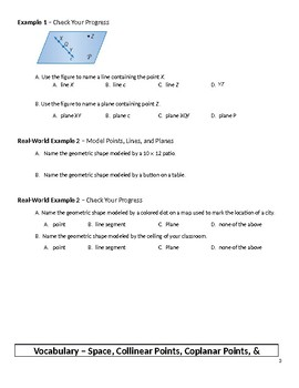 Geometry Guided Notes – 1.1 Points, Lines, and Planes