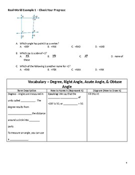 Geometry Guided Notes – 1.4 Angle Measure
