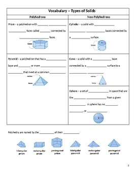 Geometry Guided Notes – 1.7 Three Dimensional Figures