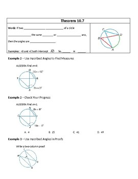 Geometry Guided Notes – 10.4 Inscribed Angles