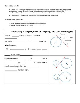 Geometry Guided Notes – 10.5 Tangents