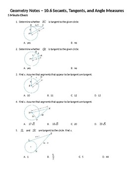 geometry guided notes 10 6 secants tangents and angle measures rh teacherspayteachers com