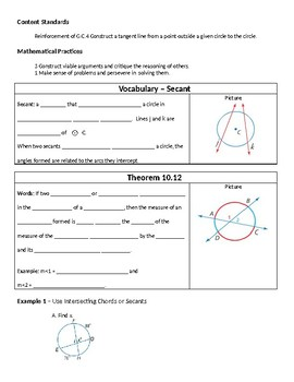 Geometry Guided Notes – 10.6 Secants, Tangents, and Angle Measures