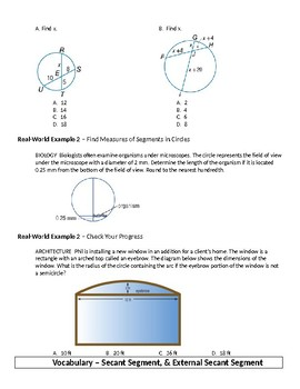 Geometry Guided Notes – 10.7 Special Segments in a Circle