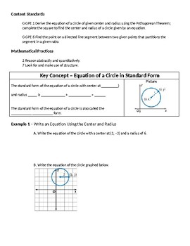 Geometry Guided Notes – 10.8 Equations of Circles