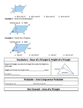 Geometry Guided Notes – 11.1 Areas of Parallelograms and Triangles