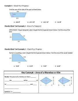 Geometry Guided Notes – 11.2 Areas of Trapezoids, Rhombi, and Kites