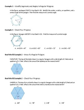 Geometry Guided Notes – 11.4 Areas of Regular Polygons and Composite Figures