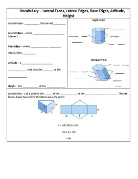 Geometry Guided Notes – 12.2 Surface Areas of Prisms and Cylinders