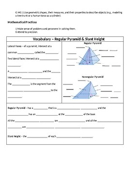 Geometry Guided Notes – 12.3 Surface Areas of Pyramids and Cones