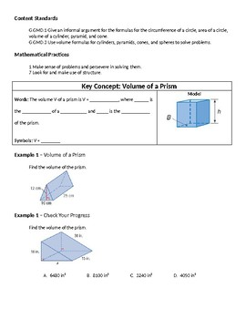 Geometry Guided Notes – 12.4 Volumes of Prisms and Cylinders