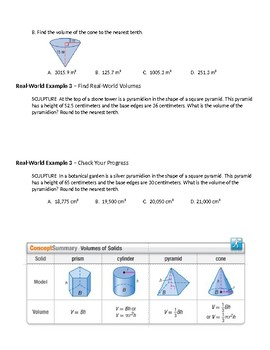 Geometry Guided Notes – 12.5 Volumes of Pyramids and Cones