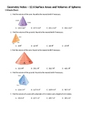Geometry Guided Notes – 12.6 Surface Areas and Volumes of Spheres
