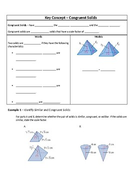 Geometry Guided Notes – 12.8 Congruent and Similar Solids