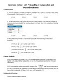 Geometry Guided Notes – 13.5 Probability of Independent an