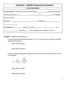 Geometry Guided Notes – 2.1 Inductive Reasoning