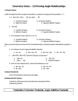 Geometry Guided Notes – 2.8 Proving Angle Relationships