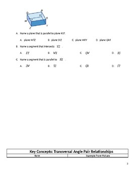 Geometry Guided Notes – 3.1 Parallel Lines and Transversals