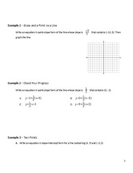 Geometry Guided Notes – 3.4 Equations of Lines