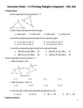 Geometry Guided Notes – 4.4 Proving Triangles Congruent – SSS, SAS