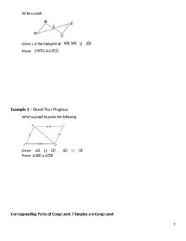 Geometry Guided Notes – 4.5 Proving Triangles Congruent – ASA, AAS