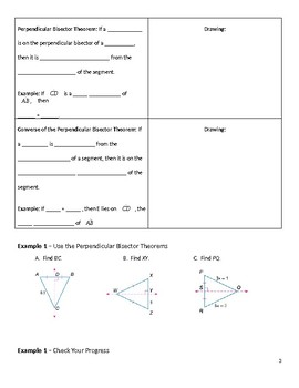 Geometry Guided Notes – 5.1 Bisectors of Triangles