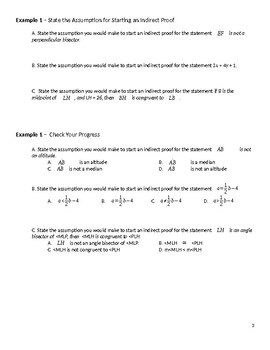 Geometry Guided Notes – 5.4 Indirect Proofs