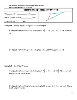 Geometry Guided Notes – 5.5 The Triangle Inequality