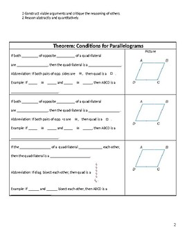 Geometry Guided Notes – 6.3 Tests for Parallelograms