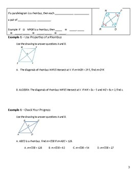 Geometry Guided Notes – 6.5 Rhombi and Squares