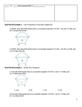Geometry Guided Notes – 6.6 Trapezoids and Kites