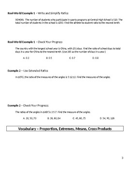 Geometry Guided Notes – 7.1 Ratios and Proportions