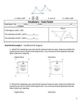 Geometry Guided Notes – 7.2 Similar Polygons