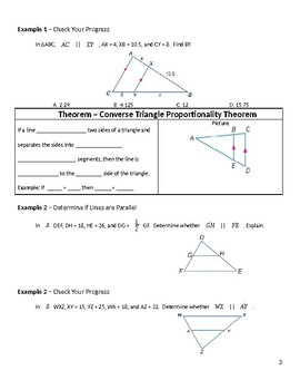 Geometry Guided Notes – 7.4 Parallel Lines and Proportional Parts
