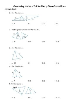 Geometry Guided Notes – 7.6 Similarity Transformations