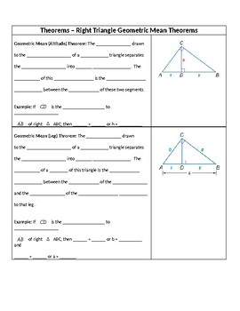 Geometry Guided Notes – 8.1 Geometric Mean