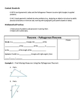 Geometry Guided Notes – 8.2 The Pythagorean Theorem and Its Converse