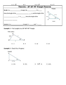 Geometry Guided Notes – 8.3 Special Right Triangles