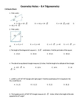 Geometry Guided Notes – 8.4 Trigonometry