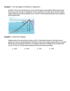 Geometry Guided Notes – 8.5 Angles of Elevation and Depression