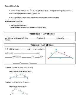 Geometry Guided Notes – 8.6 The Law of Sines and Law of Cosines