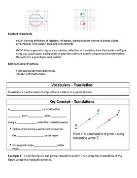 Geometry Guided Notes – 9.2 Translations
