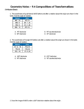 Geometry Guided Notes – 9.4 Compositions of Transformations
