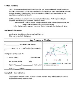 Geometry Guided Notes – 9.6 Dilations