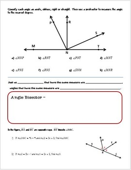 Geometry Guided Notes:  Angles and Rays