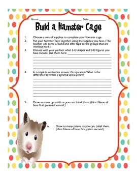 Geometry: Hamster Cage Exploration Activity