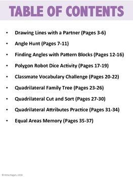 3rd Grade Geometry Hands-On Activities