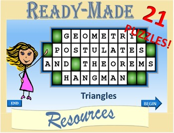 Geometry Hangman Triangles Postulates and Theorems Powerpoint Game