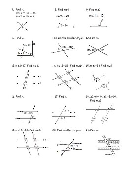 Geometry Hidden Message Puzzle - Angles and Parallel Lines