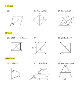 Geometry Hidden Message Puzzle - Polygons and Quadrilaterals